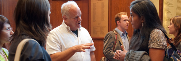 Martin Seligman discusses positive psychology with students